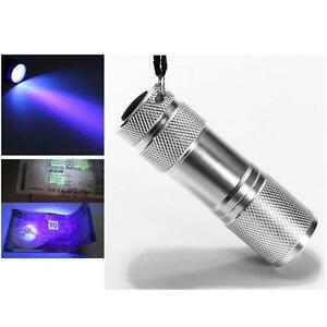 Portable-Mini-Aluminum-UV-ULTRA-VIOLET-9LED-FLASHLIGHT-Torch-Detection-silver-DG