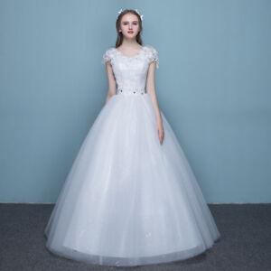 Image is loading Womens-Bride-Bridesmaid-Maxi-White-Wedding-Dress d75e710e640f