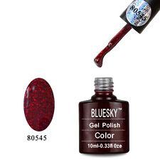 80545 Bluesky Soak Off UV LED Gel Nail Polish Ruby Ritz Red Sparkle 545