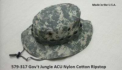 Military Boonie Hat ACU Camo Ripstop GI Jungle Hat Made In The USA NIR Compliant