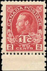 Mint-Canada-2c-1c-Perf-12-x-8-1916-Scott-MR5-War-Tax-Stamp-Hinged