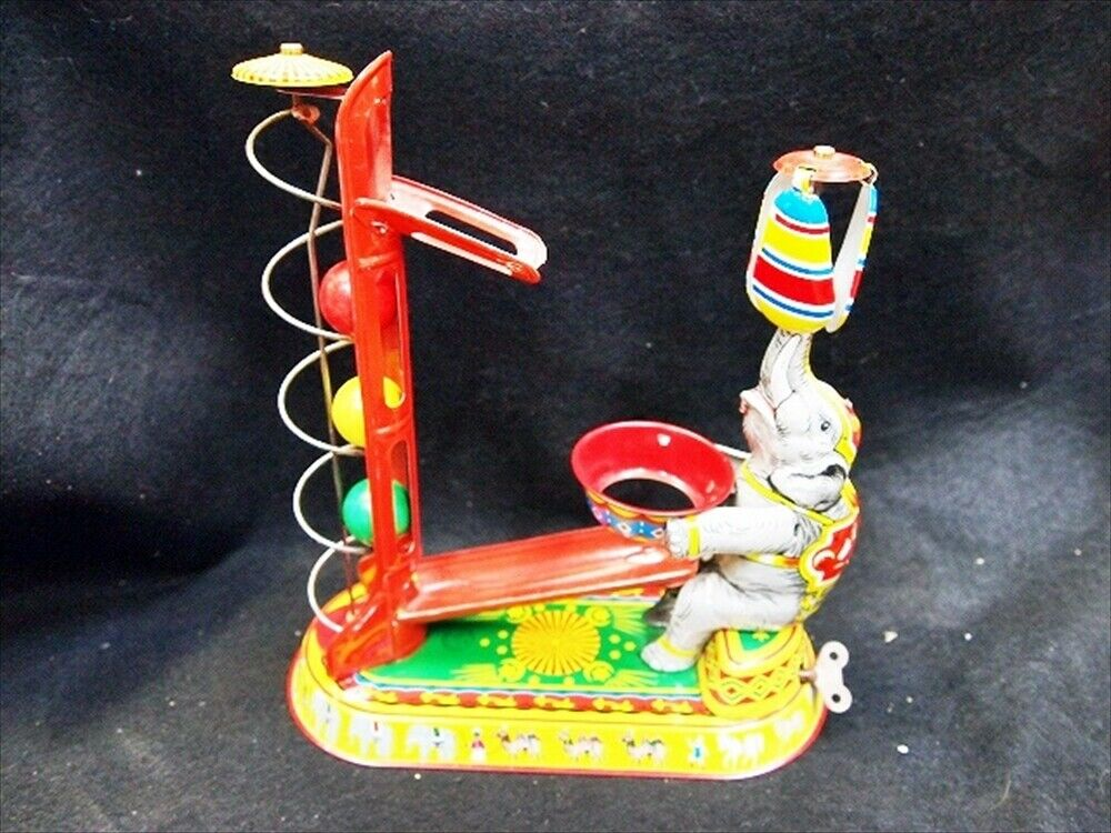 Used Elephant Ball Playground Spring Tinplate Toy Vintage Antique F/S from Japan