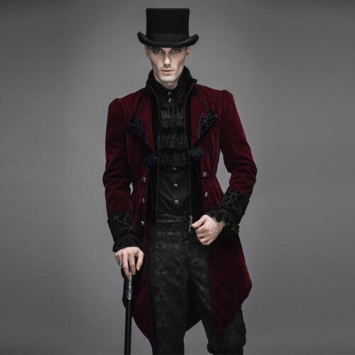 Roter Steampunk Langer Herrenjacke Gothic Baratheon Samt Mantel Neue Fashion Devil RYqOwtt