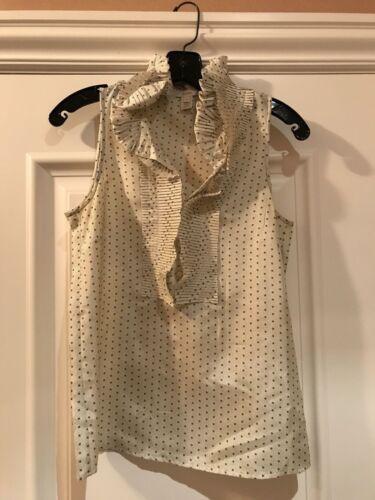 J.CREW Sleeveless Ruffle Collar Silk Sleeveless Bl