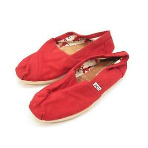 Tom's Women's Classic Red Canvas Flat 5.5M
