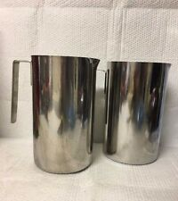 LOT OF 2 AMERICAN AIRLINES STAINLESS STEEL WATER PITCHER EACH HOLDS APPROX 7 CUP