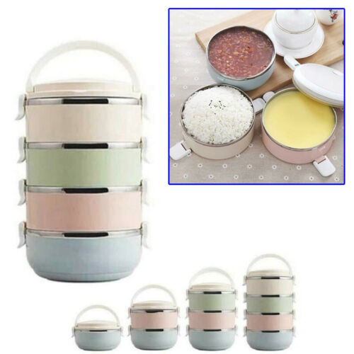 Stainless Thermo Insulated Thermal Food Container Bento Lunch Box 1-4 Layers