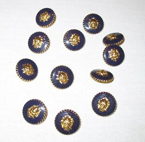 "1980s Lion Head 5/8"" Shiny Gold And Blue Solid Sewing buttons 6 Piece Bundle"