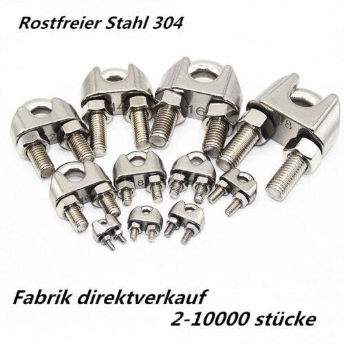 304 Edelstahl U-Bolt Drahtseilklemme Kabelklemme  2Stück 500Stück x