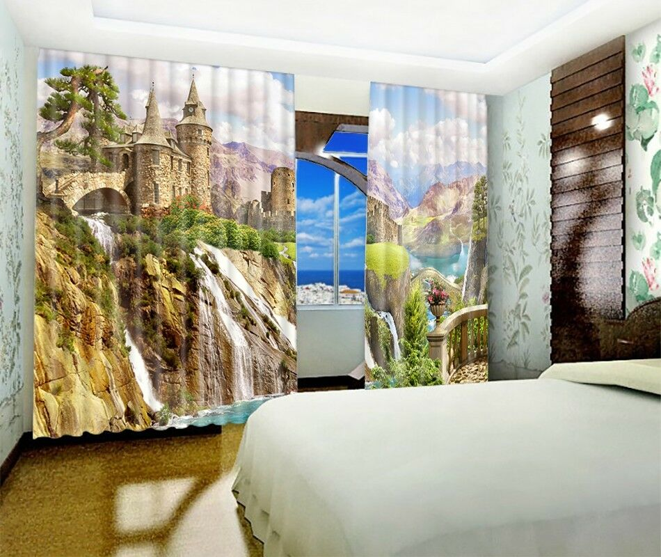 Castillo de la colina 3D 74 Cortinas de impresión de Cortina Blockout Foto Tela Cortinas Ventana au