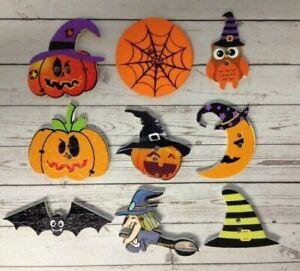 10 Wooden Halloween Themed Buttons Card Making Scrapbook Craft Embellishments