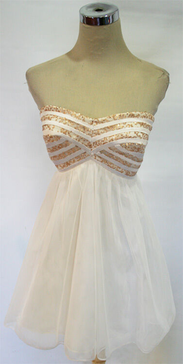 SEQUIN HEARTS gold   Ivory Dance Party Dress 9 - 70 NWT
