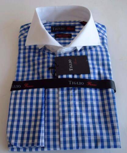 Tiglio Rosso Men's Gingham Plaid Blue 100% Cotton Dress Shirt 1325562
