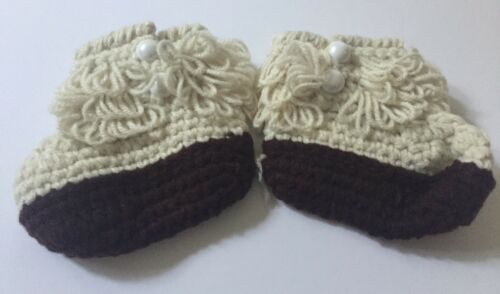 New Infant Booties Baby Shoes Slippers Knit Custom Made Cream
