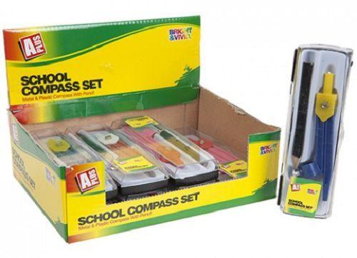 Job Lot 42 x SCHOOL COMPASS SET MATHS GEOMETRY STATIONARY PENCIL PLASTIC CASE