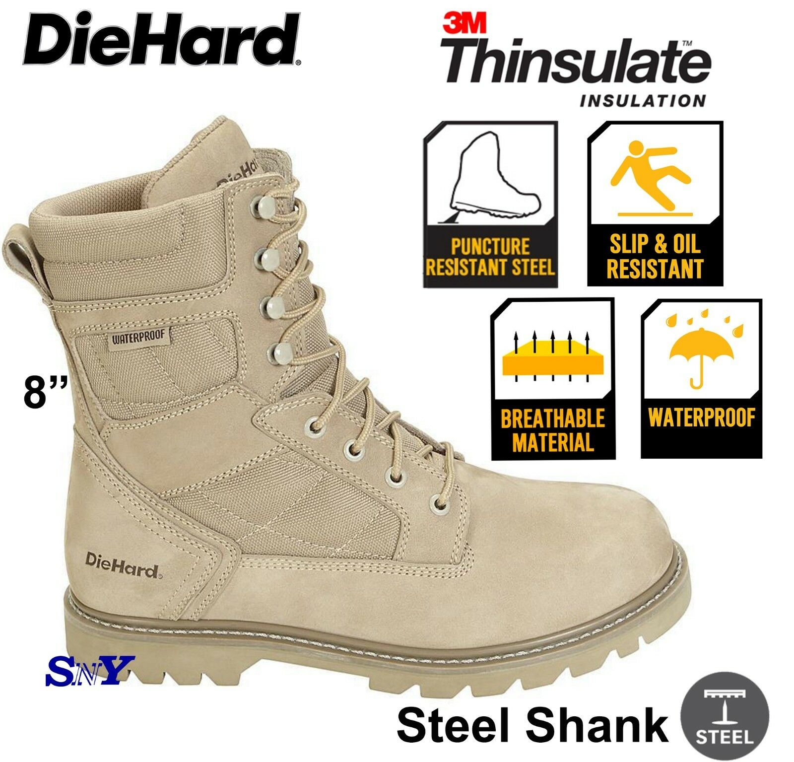 Insulated Waterproof Desert SWAT Tactical Slip & OIL Resistant Work Boots dh