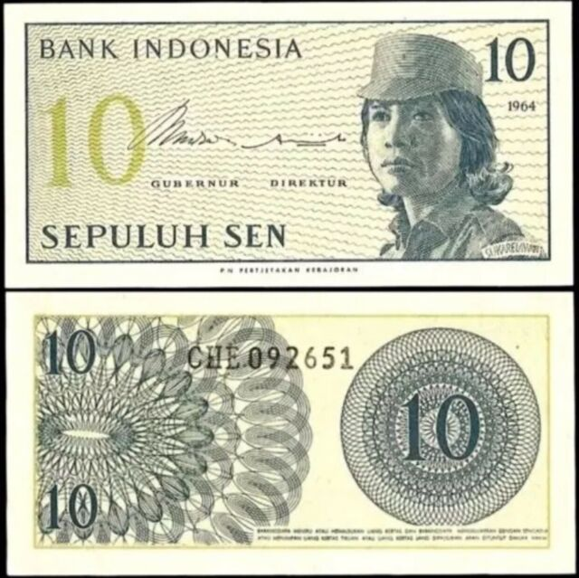 INDONESIA 10 Sen, 1964, P-92, UNC World Currency