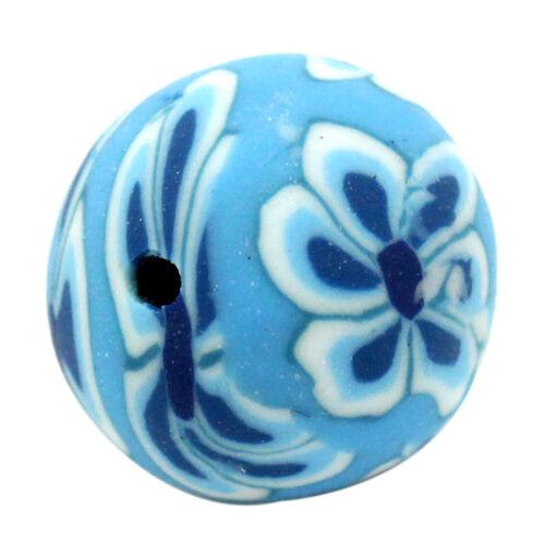 12mm-vendedor de Reino Unido-el mismo día Publica Gratis 20 X Azul Flor Redonda Granos de polímero