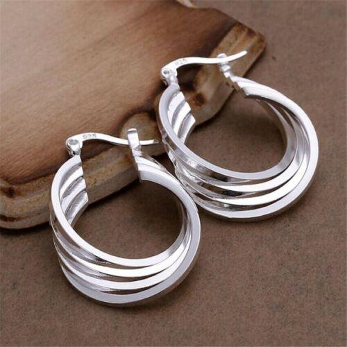 925 SILVER SOLID 4 CIRCLE HOOP EARRINGS SNAP CLOSURE /& VERY BRIGHT STAMPED