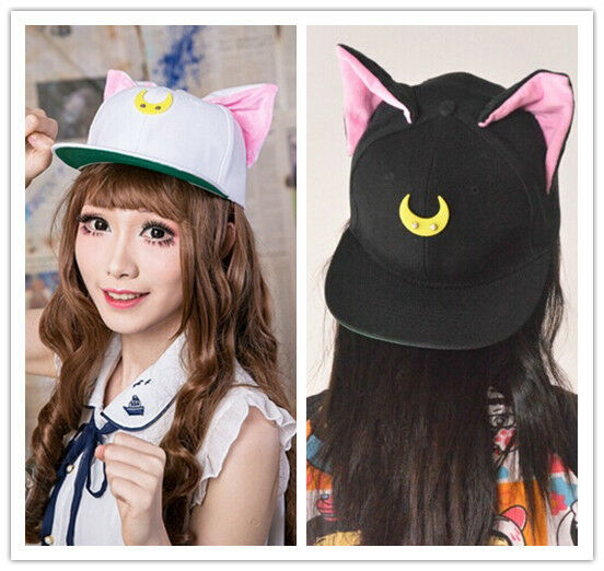 Harajuku Sailor Moon Luna & Artemis Cat Ear Hats Baseball Cap