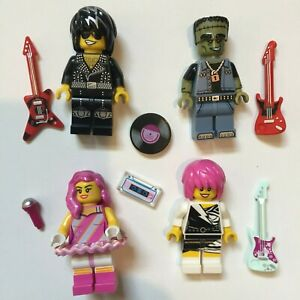 LEGO 2 NEW ROCKSTAR BAND MEMBERS 1980/'s ROCK MINIFIGURES GUITAR AND SINGER