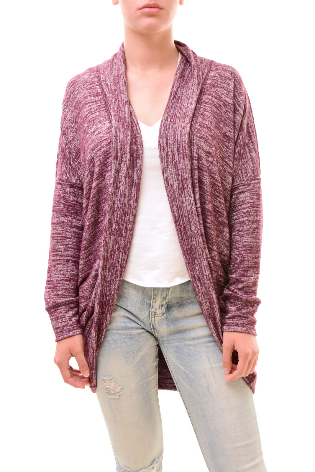 Sundry Women's Open Front Cardigan Burgundy White Size US 1 RRP  BCF78