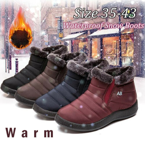 Women/'s Casual Winter Warm Fur-lined Ankle Snow Boots Waterproof Slip On Shoes