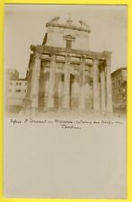 cpa 1900 Carte Photo ITALIE ROME Église St LAURENT in MIRANDA TEMPLE de FAUSTINE
