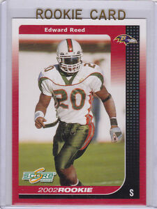 Ed Reed Rookie Card 2002 Score Nfl Rc Football Ravens Edward Miami