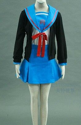 Nagato Yuki Japanese Anime Cosplay Costume Fashion Fashion Navy Student Uniform