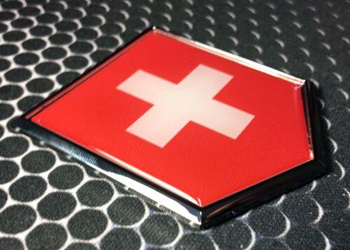 "Switzerland Flag Domed CHROME Emblem Proud Swiss Flag Car 3D Sticker 2x 2.25/"""
