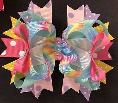 Hair Accessories Baby Accessories Large Purple And Pink Tie Due Boutique Hair Bow With Free Shipping