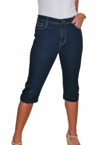 Ladies Cropped Capri Jeans Stretch Denim Turn Up Cuff Indigo Blue 10-20
