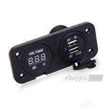 Accendisigari Adattatore Presa Voltometro 12V Colore Nero Doppio USB Auto