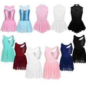 Kids-Girls-Skating-Ballet-Dance-Leotard-Dress-Sequins-Lace-Tutu-Skirt-Dancewear
