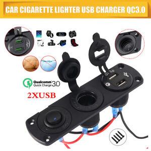 Prise-allume-cigare-12V-24V-chargeur-double-port-USB-panneau-voltmetre