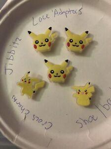 Glow-In-Dark-Pikachu-Lot-Of-5-Crocs-Shoe-Bracelet-Lace-Adapter-Charms-Jibbitz