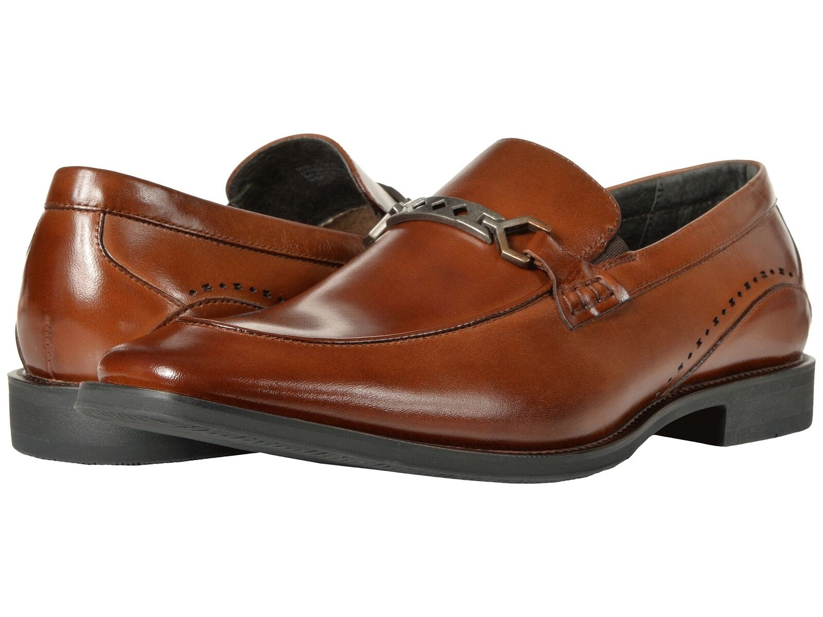 Stacy Adams Men/'s Faxon Moc Toe Oxford Cognac Leather Dress Shoes 25076-221
