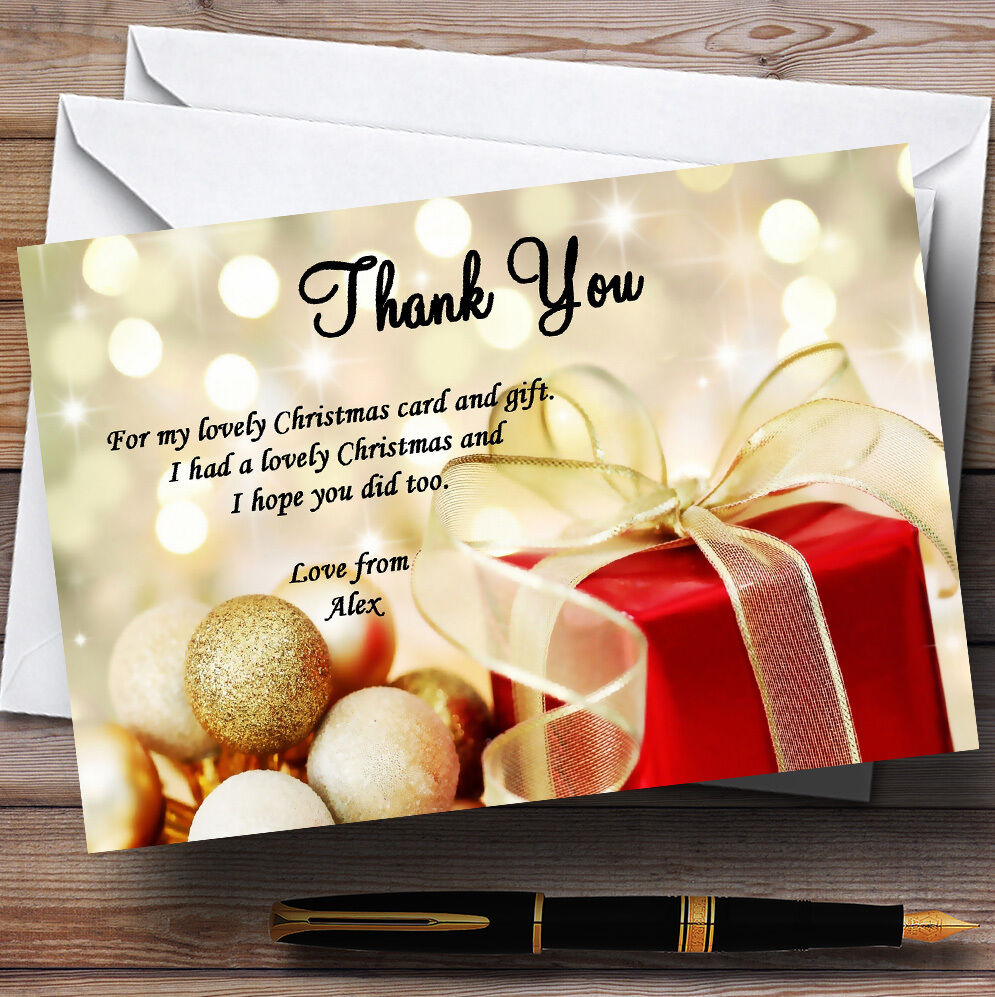 rot Present Personalised Christmas Party Thank You Cards