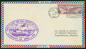 First Flight Air Mail Route Am 19 Savannah Ga To Jacksonville Fl