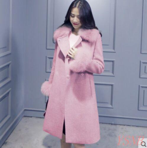 Women/'s Fur Collar Wool Blend Coat Belt Slim Fur Cuff Double Breasted Overcoat