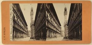 Firenze Palazzo Ripida Italia Foto Stereo Stereoview Vintage Albumina