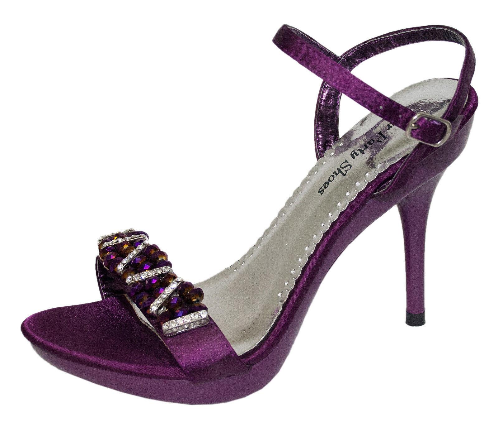 NEW Frankie Wedding Purple Pageant Prom Formal Evening Wedding Frankie Heels Ladies Shoe 56558b