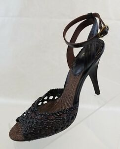 J-Vincent-Slingbacks-Woven-Peep-Toe-Ankle-Strap-Brown-Leather-Womens-Shoes-7-5