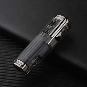 Metall-Zigarre-Feuerzeug-Triple-Jet-Flame-Torch-Lighter-Cigar-PUNCH-Cutter-winddicht