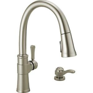 Delta Pull Down Sprayer Kitchen Faucet With Soap Dispenser 19964 Spsd Dst