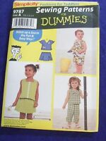 Uncut Simplicity9787 Sz 1/2-1-2-3-4 Summer Outfits Childrens Sewing Pattern