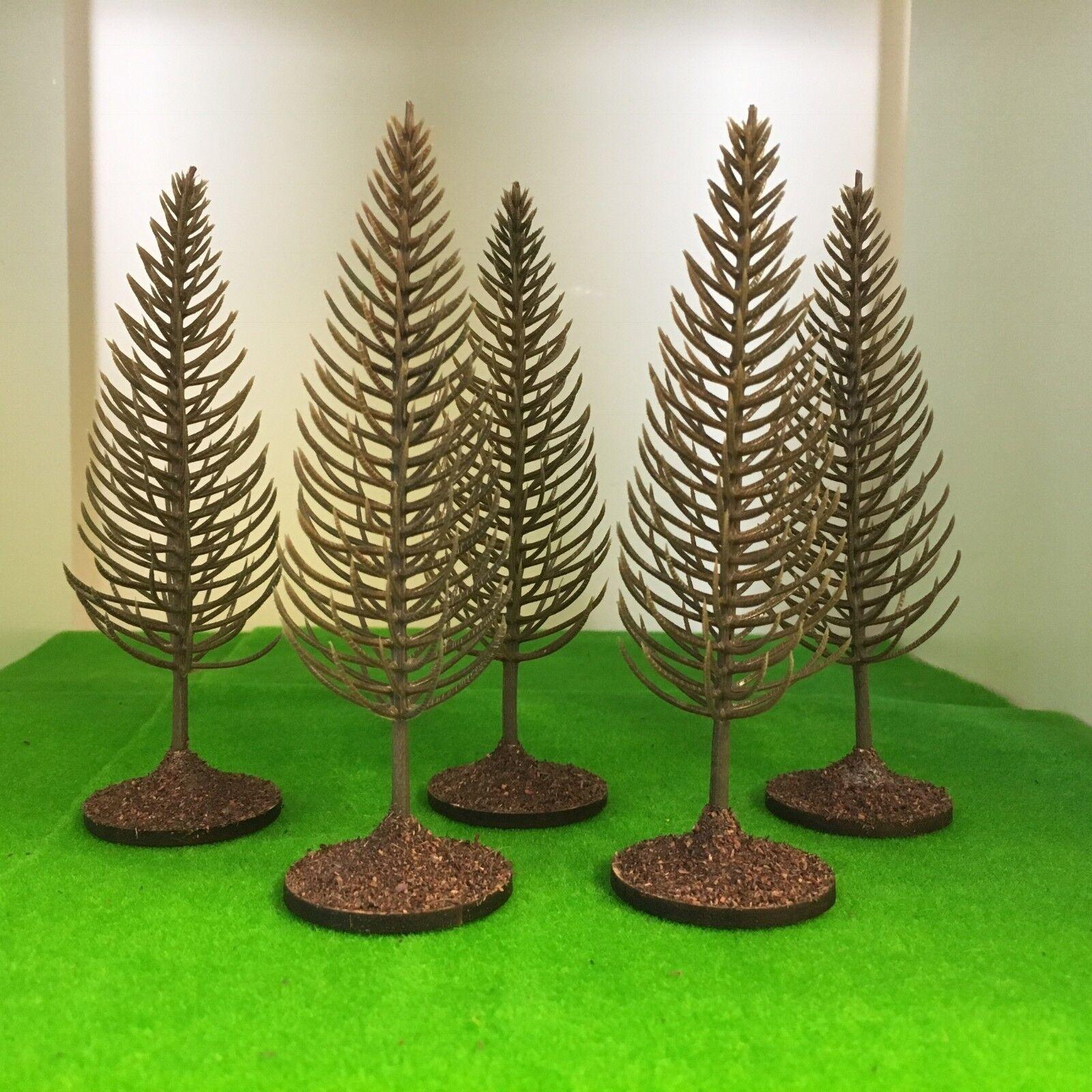 Bare Bare Bare Pine Trees on bases - Plastic Model Scenery Railway Wargames plastic OO HO dedf07