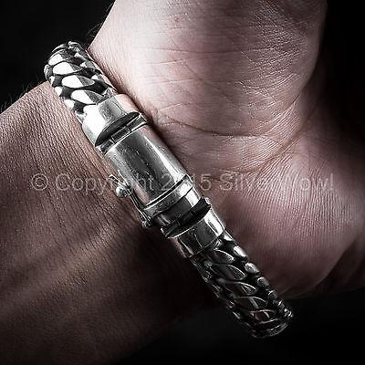 Woven Snake Mens Bracelet 10mm - SOLID 925 Sterling Silver