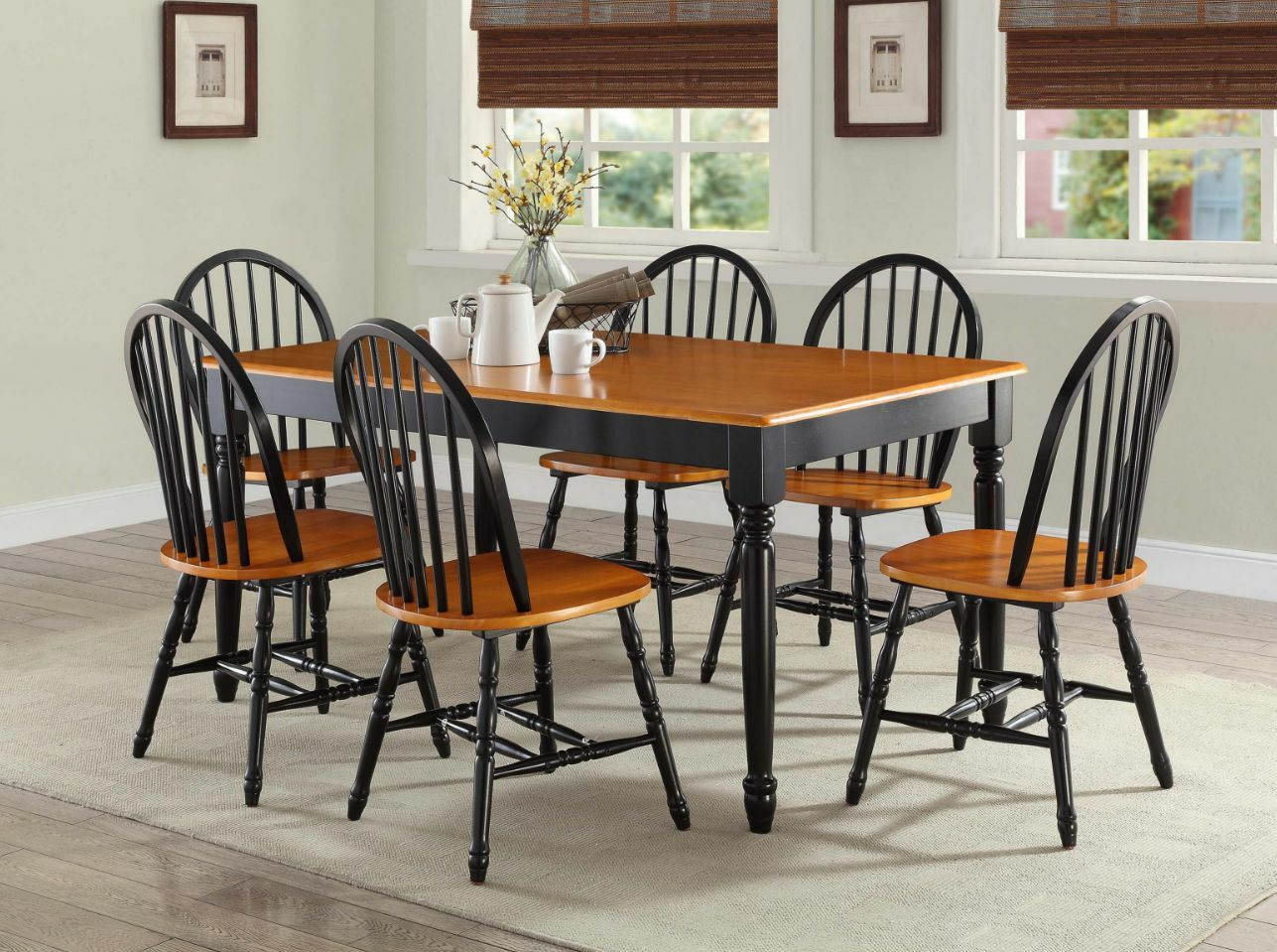 7 pc dining room sets table chairs wood farmhouse windsor for Black dining room furniture